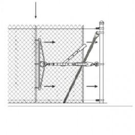 Gancho para cabestrante manual. Utilizado entre otros usos, para el tensado de la malla romboidal y anudada.