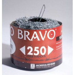 Rollo de alambre de púas galvanizado, 250 Metros. (BRAVO 14X8)