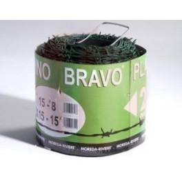 Rollo de alambre de púas galvanizado, 250 Metros. (BRAVO 15X15 Plastificado color Verde)