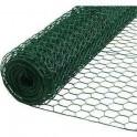 """Mini Rollo de Malla triple torsión """"Conejera - Gallinera"""" 19mm. 10mtrs/lineales, plastificada verde."""